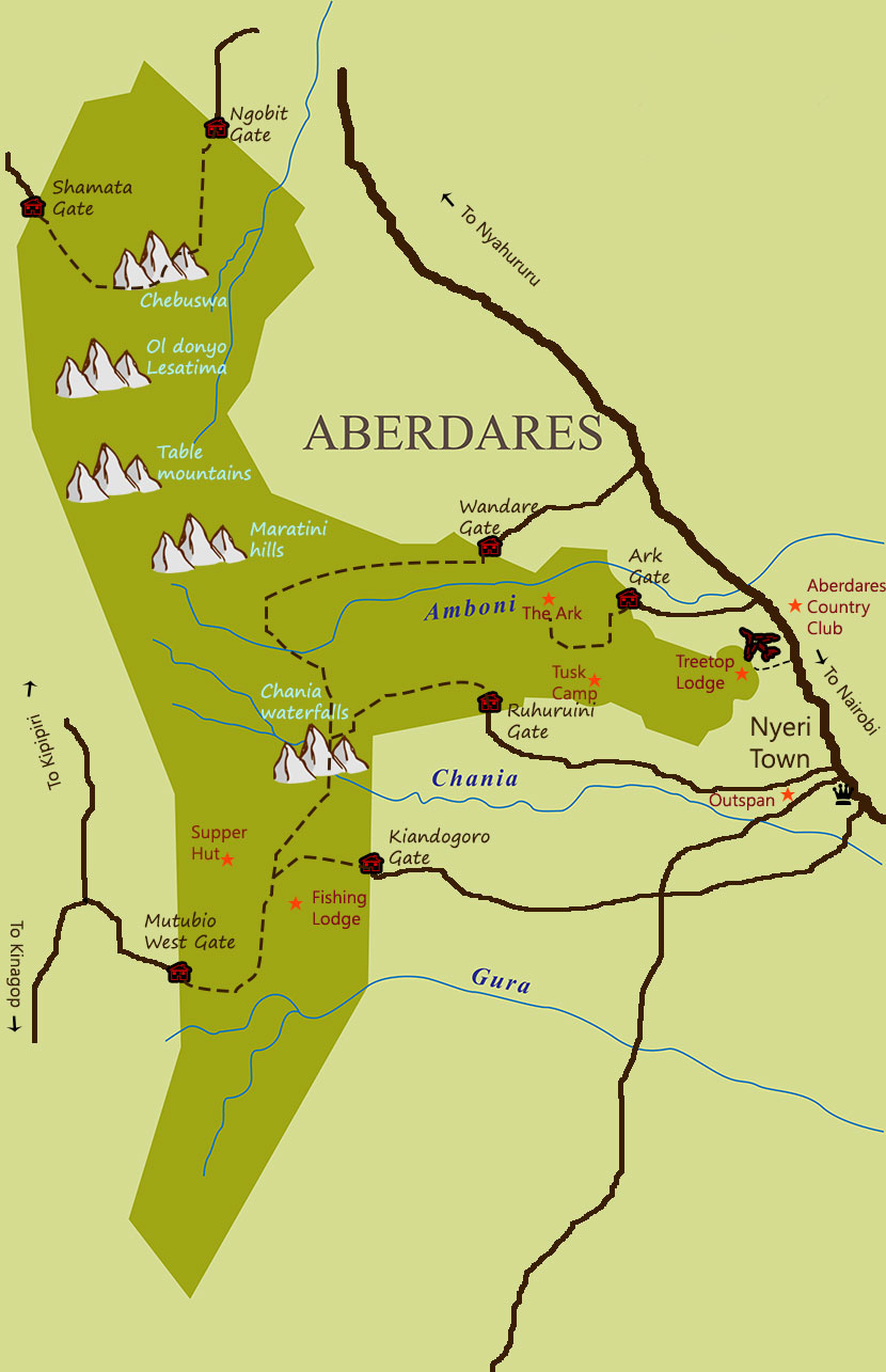 Map of Aberdares National Park and Direction